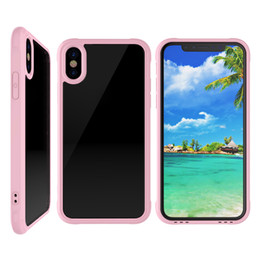 Wholesale Acrylic Transparent Bags - For iPhone 10 X PC TPU Hard Back Cover Transparent Acrylic Soft TPU Frame Shockproof Case For iPhone 7 8 Plus OPP BAG