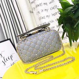 Wholesale Studded Leather Shoulder - 2017 Colorized Studded Genuine Leather Vintage Large Luxury Brand Trapeze Bags Rivets Style Handbags Women Crossbody Bag