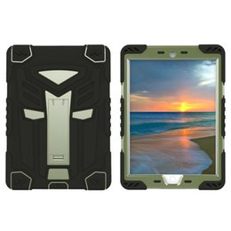 Wholesale Ipad Air Water Proof Case - Iron Man Robot Rubber Kickstand Defender Cases Hybrid PC Silicone Water Shock Proof Cover for iPad Pro 9.7Inch
