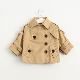 Wholesale Kids Western Coats - Everweekend Kids Girls Western Fashion Windbreaker Korean Buttons Coats Pockets Outwears Children Jackets Kids Girls Coats
