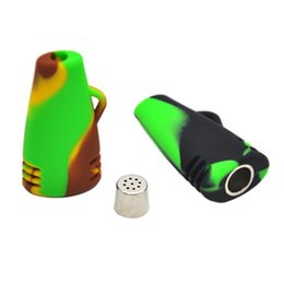 Wholesale Dry Dishes - silicone smoking tobacco hand pipe with a removable metal dish Unbreakable flexible silicone dab rigs portable dry herb silicone pipe