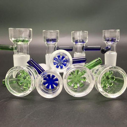 Wholesale Wholesale Water Filters - Slide Glass Bowls Color snowflake filter bowl with Honeycomb Screen Round 14mm and 18mm male joint for Glass bongs water pipes