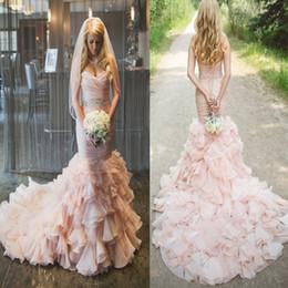 Wholesale Sweetheart Strapless Lace Ruffle - Stylish Sweetheart Tiered Ruffled Organza Mermaid Wedding Dress with Beading Sash Pink Bridal Dress vestido de festa