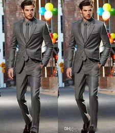 Wholesale Black Pinstripe Dress - Dark Grey Slim Fit Side Slit Two Buttons Notch Lapel Groom Tuxedos Men Suits Man Business Suit (Jacket+Pants+Tie) Formal Dinner Dresses