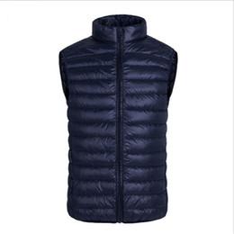Wholesale men s gold waistcoats - Wholesale- 2016 Ultra Light Mens Winter Vest Duck Down Stand Collar Zipper Gilet Sleeveless Vest Waistcoat Mens Vest Waistcoat Plus Size