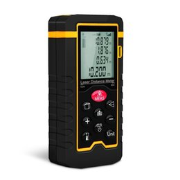Wholesale Volume Area Lcd - High Precision Portable Handheld Laser Distance Meter Digital Laser Tape Measure with LCD Backlight for Volume Area 40 60 80 100m DHL