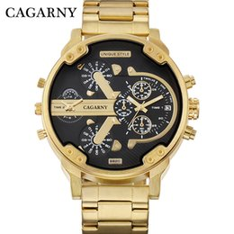Wholesale Cool Military Watches - Cagarny Men's Watches Men Fashion Quartz Wristwatches Cool Big Case Golden Steel Watchband Military Relogio Masculino D6820 Hour .