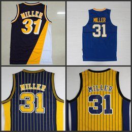 Wholesale 31 Jerseys - #31 reggie miller yellow blue stripe Navy Blue Rookie throwback hardwood classics Jersey stitched number and name Basketball Jerseys