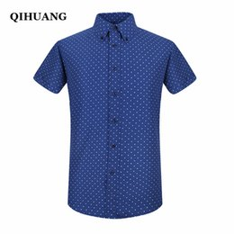 Wholesale Wholesale Dress Shirt Fabric - Wholesale- QIHUANG 2017 High Quality Fresh Fabric New Men Point Print Short Sleeve Dress Shirt Formal Fashion Male Shirt Brand Clothing
