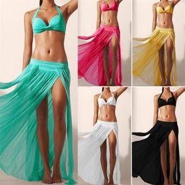 Wholesale Yellow Black Swim Wear - Dailiwei Summer Beach Cover Up Swimwear Bikini Skirt Women Mesh Beach Skirt Swim Cover Up Beachwear Women Beach Wear 5 Colors