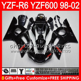Wholesale 8Gifts Color For YAMAHA YZF600 YZFR6 YZF R600 HM1 gloss black YZF YZF R6 YZF R6 Fairing kit