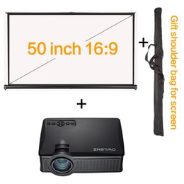 """Wholesale Desktop Business - Wholesale-50"""" 16:9 Projector HD Screen Portable Desktop Table Screen + Mini Projectors Support 1080P Proyector HDMI LCD LED Game PC SD50+"""