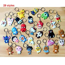 Wholesale Mixed Keychain - Mixed lot diy Hot beautiful soft PVC silicone charms Keychain cute cartoon anime gift key pendant rubber Key chain Ring jewelry