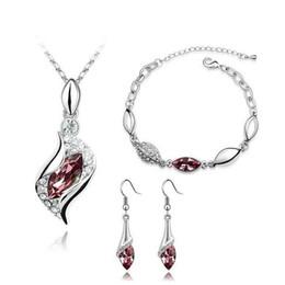 venta al por mayor de joyería de tanzanita Rebajas Rhinestone Pendant Necklaces Fashion Jewelry Sets Austria Zircon Crystal Necklace+Earrings+Bracelet Set Women Jewellry