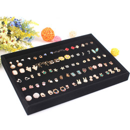 Wholesale Earrings Tray Display - High Quality Jewelry Display Tray Ring Earring Case Ear Stud Plate Jewelry Decoration Earring Storage Showcase