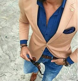 Wholesale Casual Suits For Men Weddings - Wholesale- Tailor Made Champagne Suit Jackets For Men Casual Man blazer slim fit masculino Custom Made Wedding Prom Jacket americana hombre