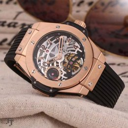 Wholesale Automatic Brush - Luxury Brand Tourbillon Automatic Mens watch Brushed Rose Red Gold Case Sapphire case back Black Rubber Strap Top grade Casual Man watches