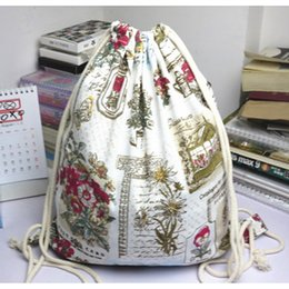 Wholesale Cheap Printed Cotton Bags - Best Selling Women's Canvas String Bag Linen Bags Original Spring Flowers Print Backpack Pop Style Gunny Bag Cheap Wholesale Freeshipping