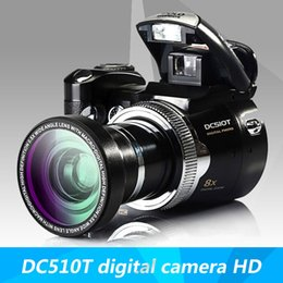 Wholesale Fixed Focus Cameras - Wholesale-HOT SALE DC510T digital camera HD camera zoom lens wide-angle lens Free Shipping