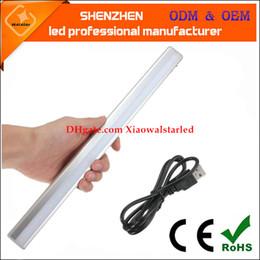 Wholesale Traffic Lamps - Modern 20 LED USB Powered human Sensor LED Bar Lamp For Bedroom Bedside Cabinet Wardrobe Light Pure Warm White Rechargeable LED light
