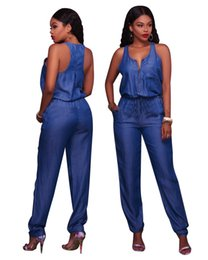Wholesale Jeans Jumpsuits Rompers - New Fashion Jeans Jumpsuits Denim Rompers Sleeveless Casual Loose Long Body Suits for Women Summer Overalls