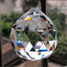 Wholesale Hanging Glass Curtains - 30 40 Crystal Glass Faceted Ball Chandelier Parts Pendant Bead Curtain Window Suncatcher Fengshui Crafts DIY Home Hanging Decor