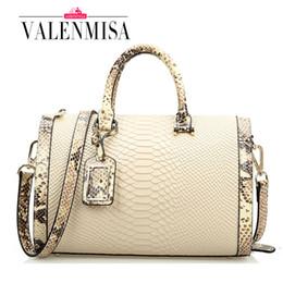 Wholesale Handbag Crocodile Skin - Wholesale-High Quality Genuine Leather Bags For Women Crocodile Designer Brand Handbag Ladies Shoulder Bags Snake Skin Boston Bag New 2016
