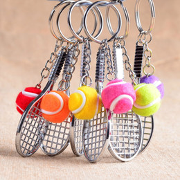 Wholesale Tennis Keychains Wholesale - 2017 new Keychains 8PCS keyring Tennis racket Sports Model Small Pendant Keychains key chain free shipping