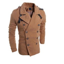 Wholesale Woolen Fleece Double Breasted Coat - Wholesale- Winter Jacket Men Fashion Double-Breasted Multi-Metal Buckle Design Woolen Cloth Coat Men's Casual Warm Woolen Coats Jackets