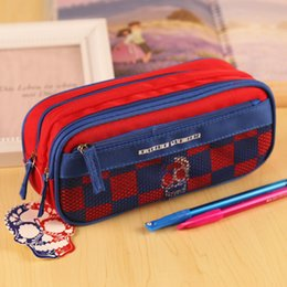 Wholesale Plastic File Cases - new boys red with box large capacity Oxford Multifunctional Pencil Bag Durable Pencil Case Multi-Layer children student school Storage pouch