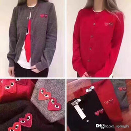 Wholesale Heart Sweater Womens - 2017 Fashion COMME 1 DES GARCONS CDG HOLIDAY Heart Emoji PLAY Mens And Womens T-shirt pure wool knitted cardigan lovers knitted sweater