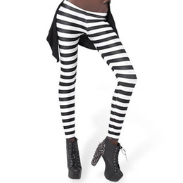 Wholesale Tight Zebra Pants - New Leggings Fashion Classic black white stripes womens Clothing Sexy Legging Patterned Girl Zebra Strip Leggings Elastic Tights Space pants