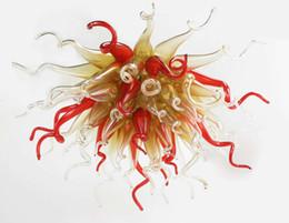 Luzes pingente vintage vermelho on-line-Cadeia LED Pendurado Luzes Pingente de Âmbar e Vermelho Flor de Vidro Murano Novo Design de Móveis Antigos Do Vintage