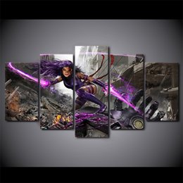 Wholesale Nude Female Oil - 5 Pcs Set Framed HD Printed Female Warrior Game Picture Custom Canvas Prints Animal Oil Painting Artworks Poster