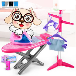 Wholesale Play Sounds Flash - EFHH Girl Kid Puzzle Toy Simulation Iron Bed Plastic Simulation Appliances Pink Mini Pretend Play Game Toy with Sound and Flash