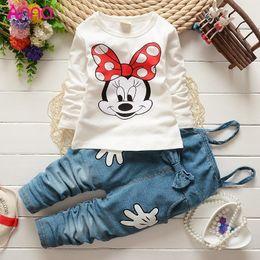 Wholesale Denim Overalls Sets - Wholesale- 2015 Baby girls clothes suit cartoon T-shirt + denim overalls 2pcs   set fashion bow Children Kids suits Free shipping