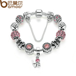 Wholesale Color Butterfly Beads - Pandora Style Silver Color European Pink Zircon Friendship Bracelet for Women with Butterfly Beads LOVE Pendant & Safety Chain