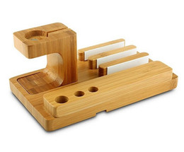 Wholesale I Phone Docking - Natural Bamboo Bloom Wood Desktop Charging Dock Stand Mobile Phone Holder 3-in-1 For Samsung For iPhone For A pple i Watch 38 42