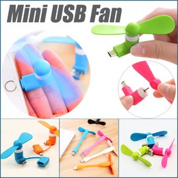 Wholesale Mini Pc Fans - Promotion Gift Mini USB Fan For iPhone Micro USB Android OTG Phones PC Power Bank Pocket 2 In 1 USB Gadget Fans DHL