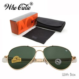 Wholesale American Pilots - WHO CUTIE Brand AO Sunglasses Aviator 90s Men Army Military12K Gold Tint Frame American Optical Lens Sun Glasses with Box OM288B