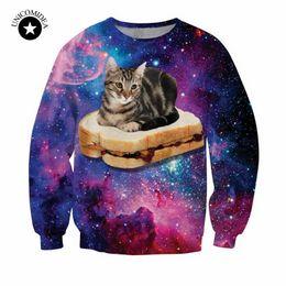 Wholesale Hamburger Pullover - Wholesale- New harajuku style galaxy space cat sweatshirt 3d printed hoodies cute animal pattern funny cat sit on hamburger hoodies