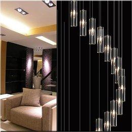 Люстра дуплекс онлайн-Современный минималистский мода подвесной светильник K9 Кристалл блок S-образный прозрачный дуплекс лестница люстра лестница лампы свет для отеля
