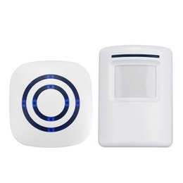 Колокольчики онлайн-Wholesale- Safurance Wireless Motion Sensor Detector Gate Entry Door Bell Welcome Chime Alert Alarm Home Automation Home Security