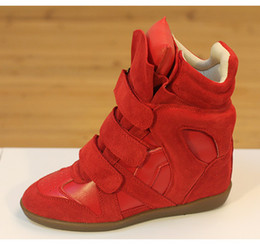 Wholesale Pink Wedge Sneakers - Top quaity luxury brand new design shoes genuine leather height increasing high-top suede sneakers concealed wedge boots size 34-41