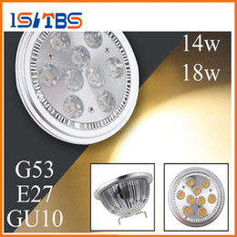 Wholesale Lamp G53 - AR111 Led G53 E27 GU10 14W 18W Spotlights ceiling lamp Dimmable QR111 ES111 warm cool white led bulbs 60 beam angle 110V 220V
