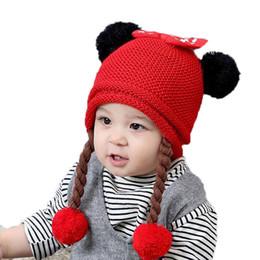 Wholesale Knitted Hats Pigtails - Girls Beanies Bowknot Design Long Pigtail Wigs knit Bobbles Hats Child baby Kid Winter Warm Cap Skullcap Solid Color MZ5252