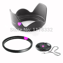 Filtros de lente de 55mm online-Al por mayor-Gratis ShipWholesale 3 in1 55mm Lens Cap Cover + 55mm Flower Petal Lens Hood + 55mm UV Filter para cámara