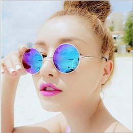 Wholesale Europe Star Round Sunglasses - Europe and the United States retro small round sunglasses men and women sunglasses colorful reflective star models big box Prince mirror mir