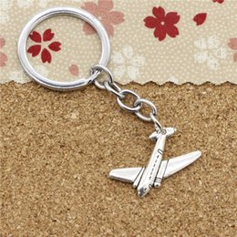Wholesale Airplane Chrome - 15pcs Fashion Diameter 30mm Chrome plate Key Ring Metal Key Chain Jewelry Antique Silver Plated airplane plane 25*31mm Pendant