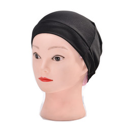 Tapas para las pelucas online-Dream Spandex Dome Cap Black, calidad superior, tejer gorras, tejer, pelucas, pañuelo, coser, gorra